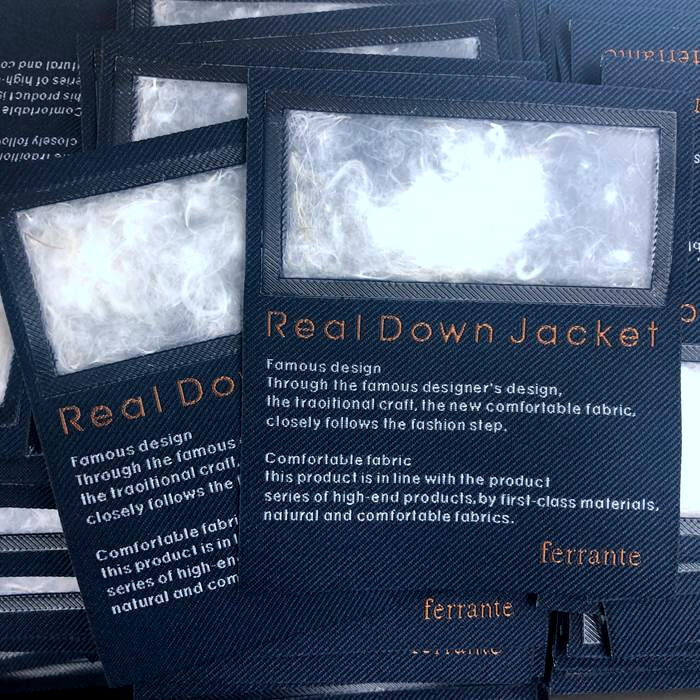 jacket label with down